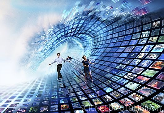 Information overload. Conceptual image of male and female figures with an array of television images that are breaking over them in a wave. This image may represent the concept of information overload, where too much information is provided and it becomes difficult to select what is needed.