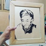 Karya Seni Gambar Siluet Glass Tokoh Hasyim Asyari